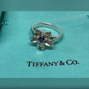 Tiffany Silver Purple Iolite Flower Ring EUC Sz 8